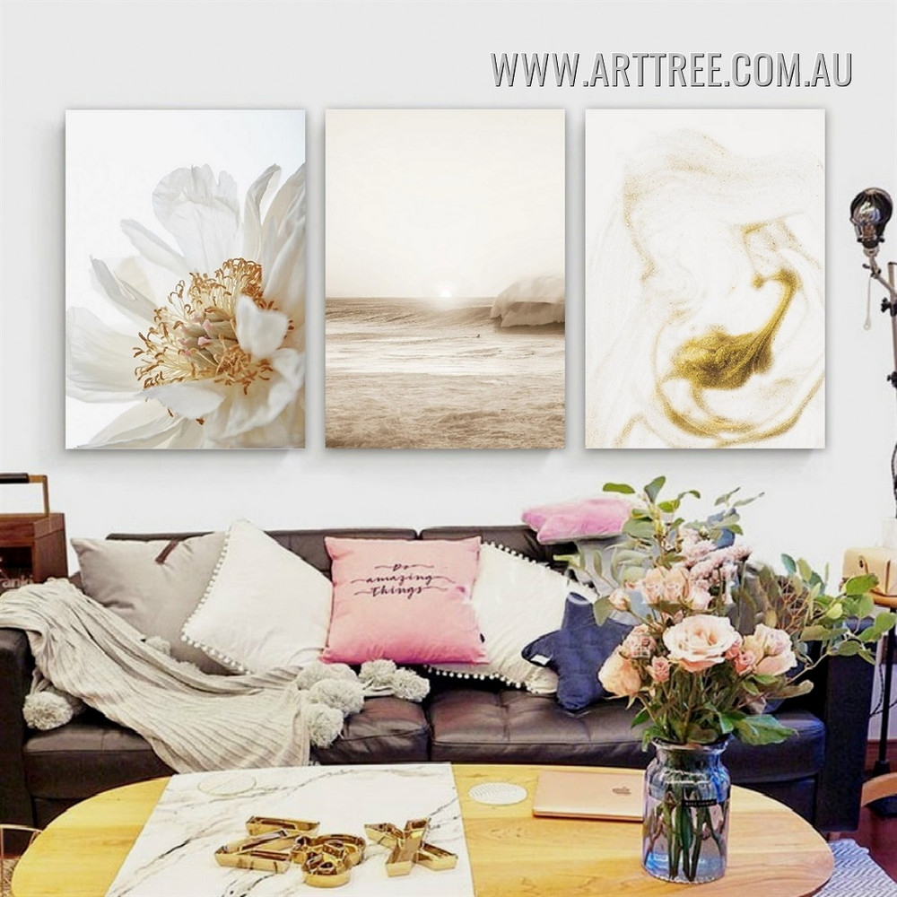 Anemone Blossom Sea Seascape Stretched Painting Modern Floral Pic 3 Piece Canvas Print for Room Wall Getup