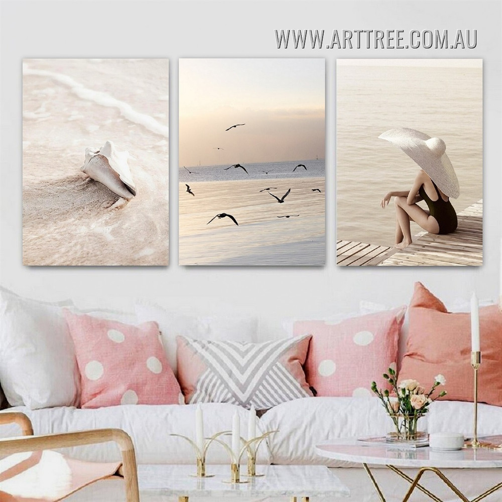 Beach Waves Dickey Modern Landscape Art Picture 3 Piece Canvas Print Art for Room Wall Moulding