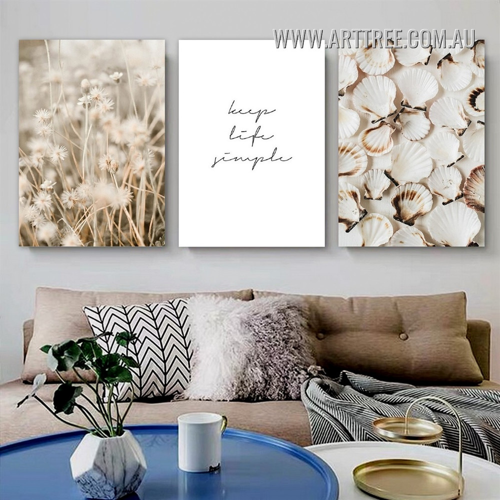 Keep Life Simple Dry Plants Modern 3 Piece Stretched Typography Art Photo Canvas Print for Room Wall Getup