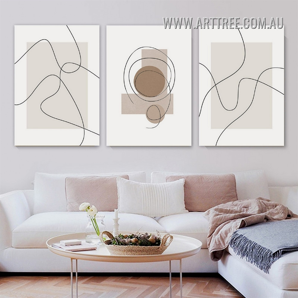 Tortuous Contour Lines Scandinavian Geometrical Artwork Abstract 3 Piece Photograph Framed Canvas Print for Room Wall Tracery