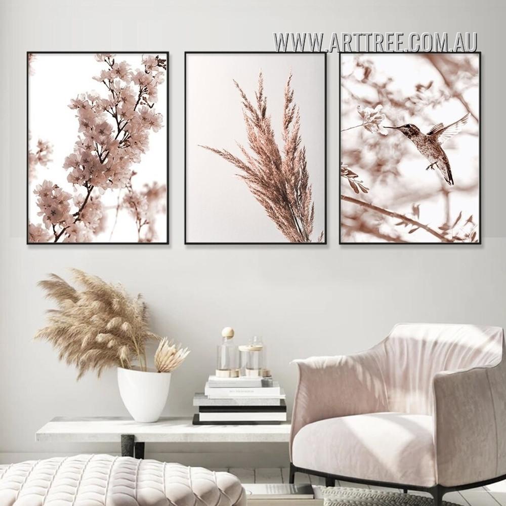 Hummingbird Sapling Grass Scandinavian 3 Piece Framed Floral Painting Photograph Canvas Print for Room Wall Trimming
