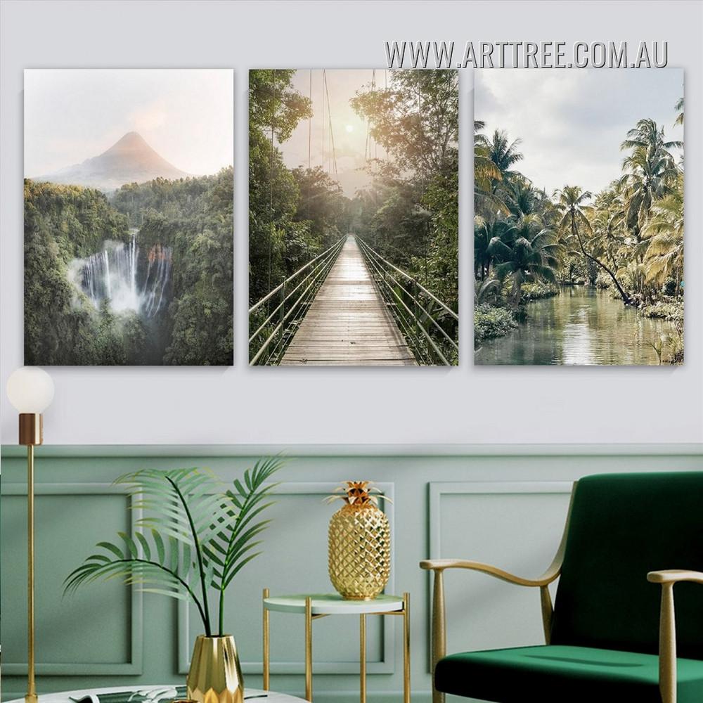 Wild Culvert Way Bridge Modern Naturescape 3 Piece Landscape Stretched Wall Art Photograph Canvas Print for Room Drape