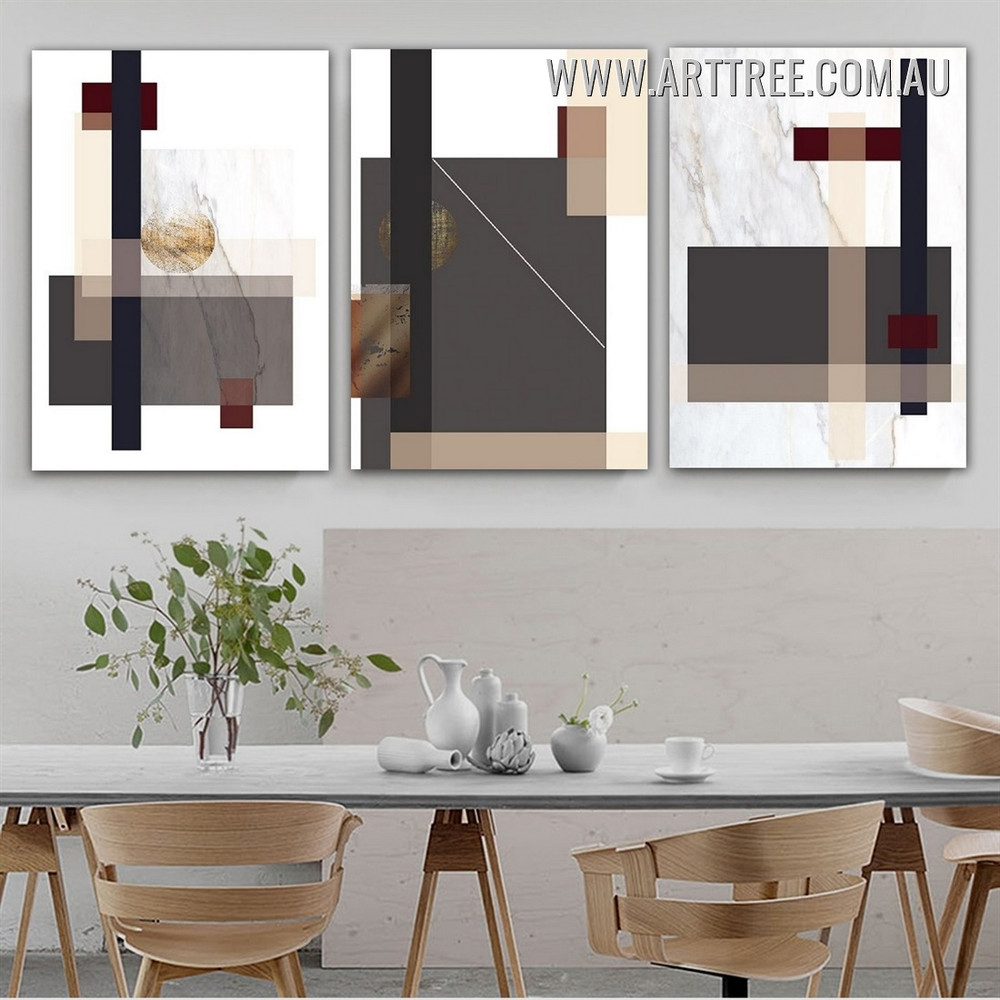 Lozenge Verse Squares Framed Painting Marble Modern Abstract Pic 3 Piece Geometrical Canvas Print for Room Wall Getup