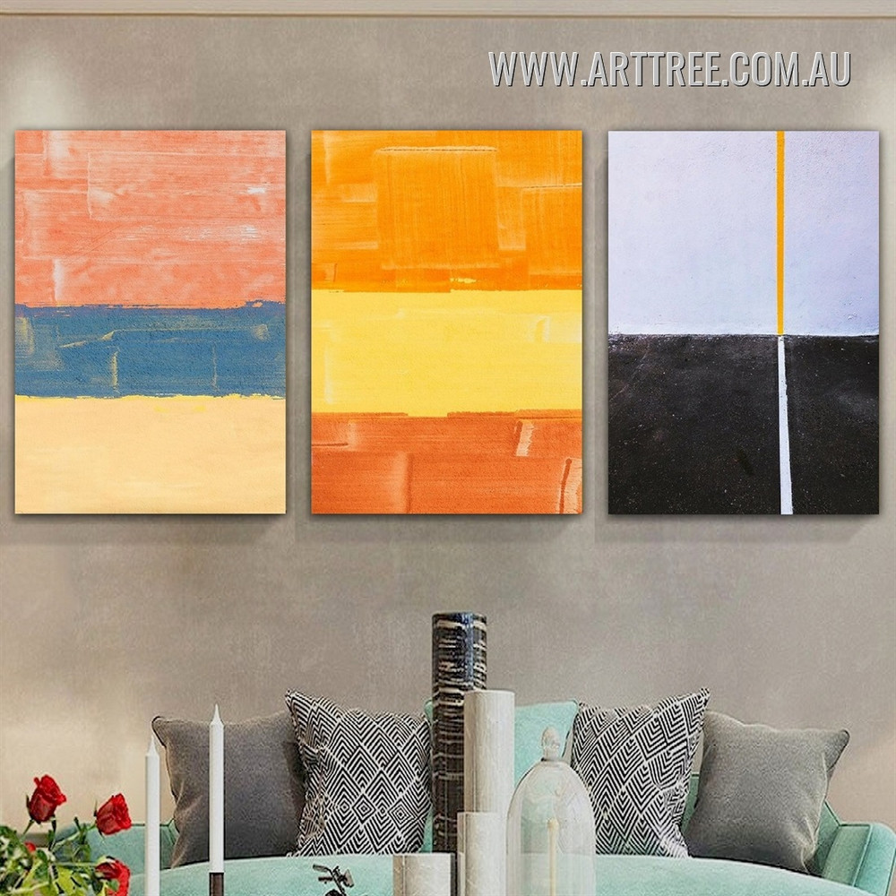 Horizontally Contour Verse Line Modern Geometric 3 Piece Framed Wall Art Abstract Photograph Canvas Print for Room Molding