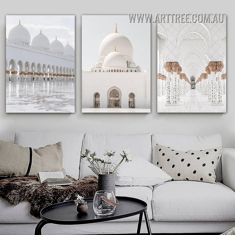 Sheikh Zayed Mosque Landscape Modern 3 Panel Painting Photograph Framed Canvas Print for Room Wall Embellishment