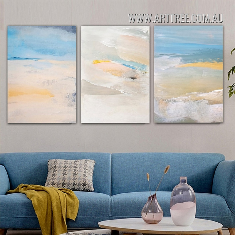 Colorific Splash Abstract Scandinavian Framed Painting Picture 3 Panel Watercolour Canvas Print for Room Wall Finery