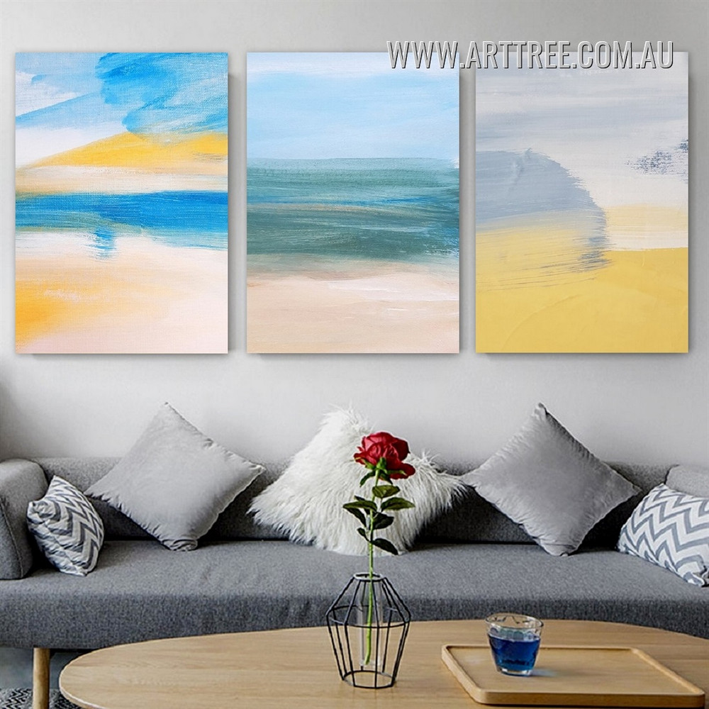 Chromatic Stigma Watercolour Abstract Painting Image Stretched 3 Piece Scandinavian Canvas Print for Room Wall Garniture