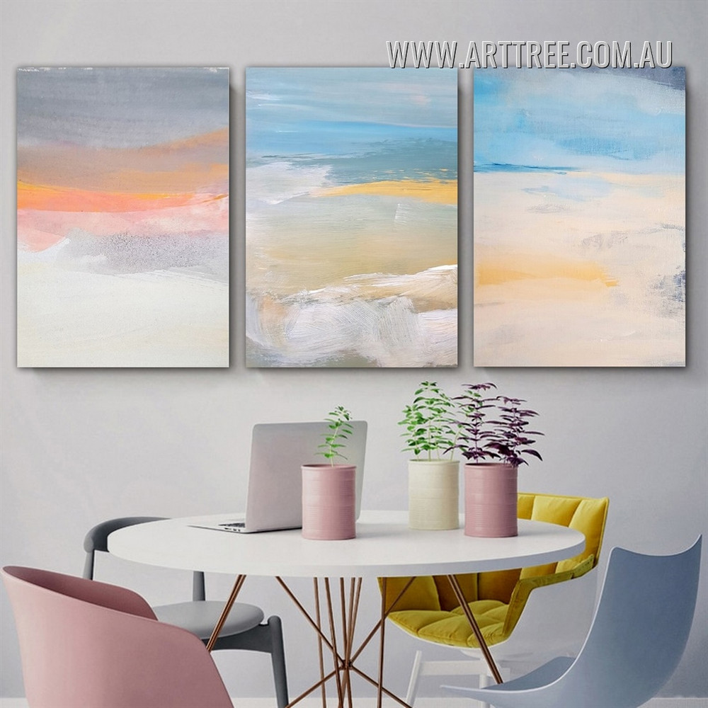 Coloured Patch Stretched Abstract Watercolour  3 Panel Painting Picture Scandinavian Canvas Print For Room Wall Décor