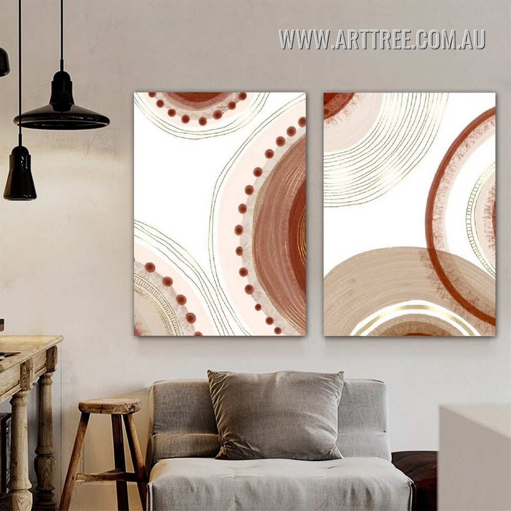 Semi Sphere Cipher Points Abstract Artwork Photo Scandinavian 2 Panel Geometric Framed Canvas Print for Room Wall Flourish
