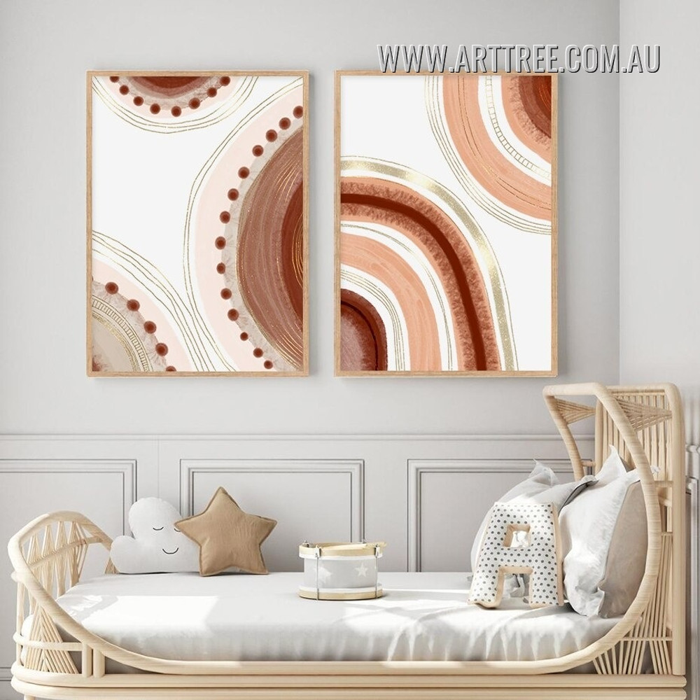 Quarterly Scansion Stigmas Circles Stretched Scandinavian Abstract Geometrical Artwork Photo 2 Piece Canvas Print for Room Wall Garnish