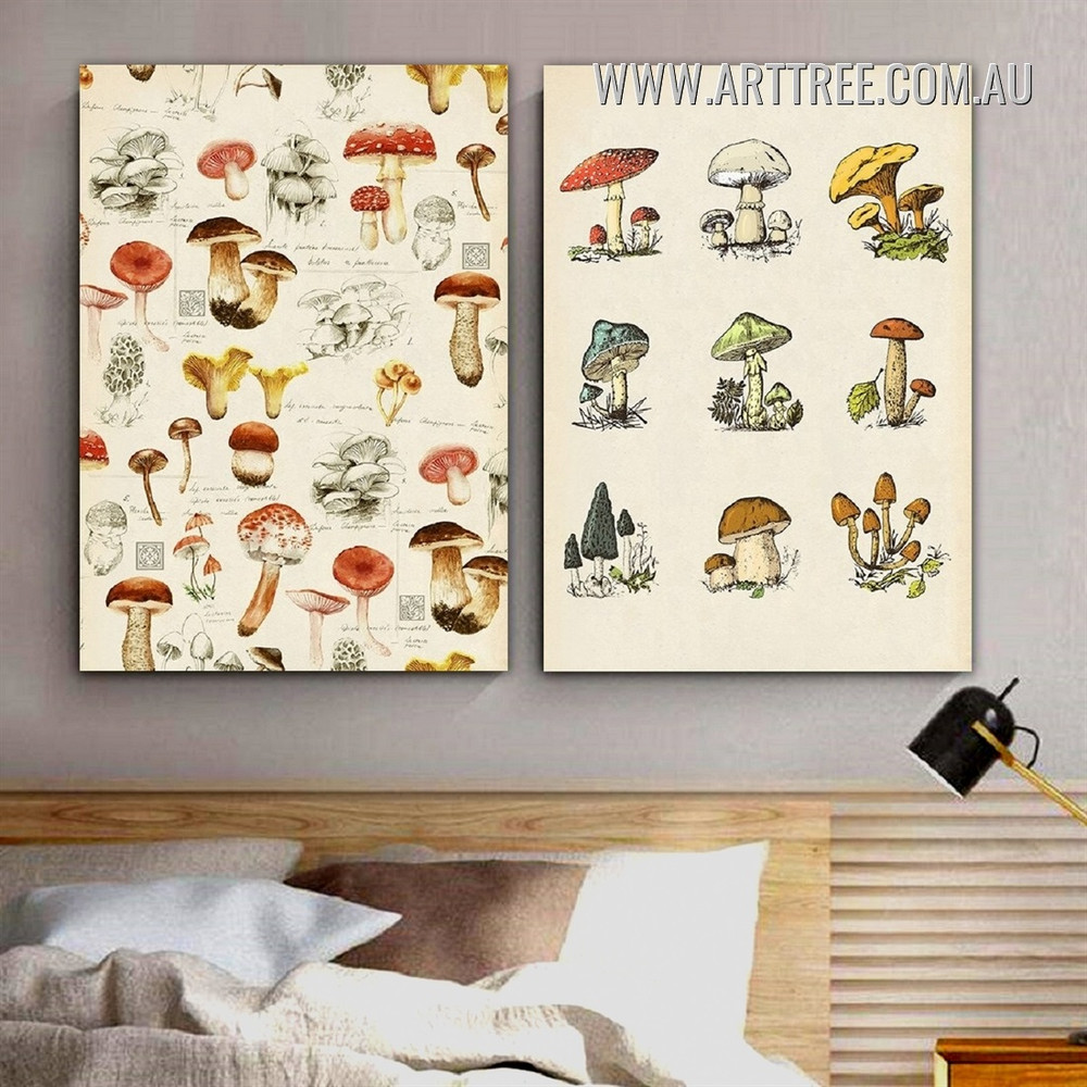 Chromatic Boletus Food Vintage Abstract 2 Piece Framed Wall Art Photograph Canvas Print for Room Trimming
