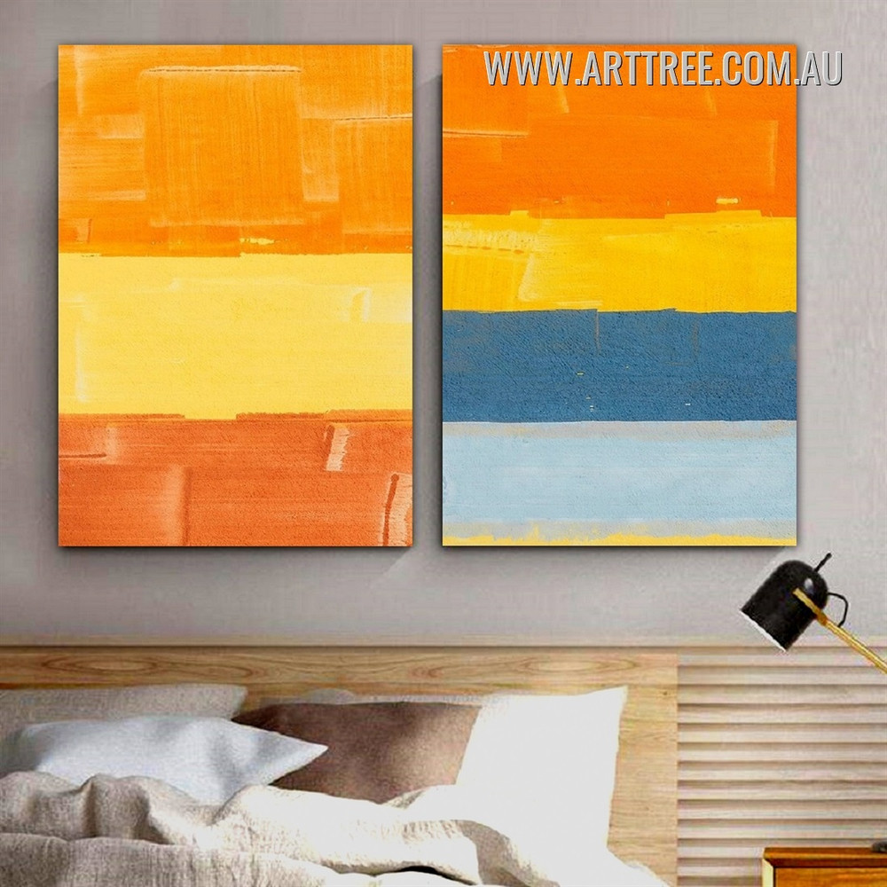 Horizontal Verse Rectangles Geometric Modern 2 Piece Framed Abstract Painting Photograph Canvas Print for Room Wall Outfit