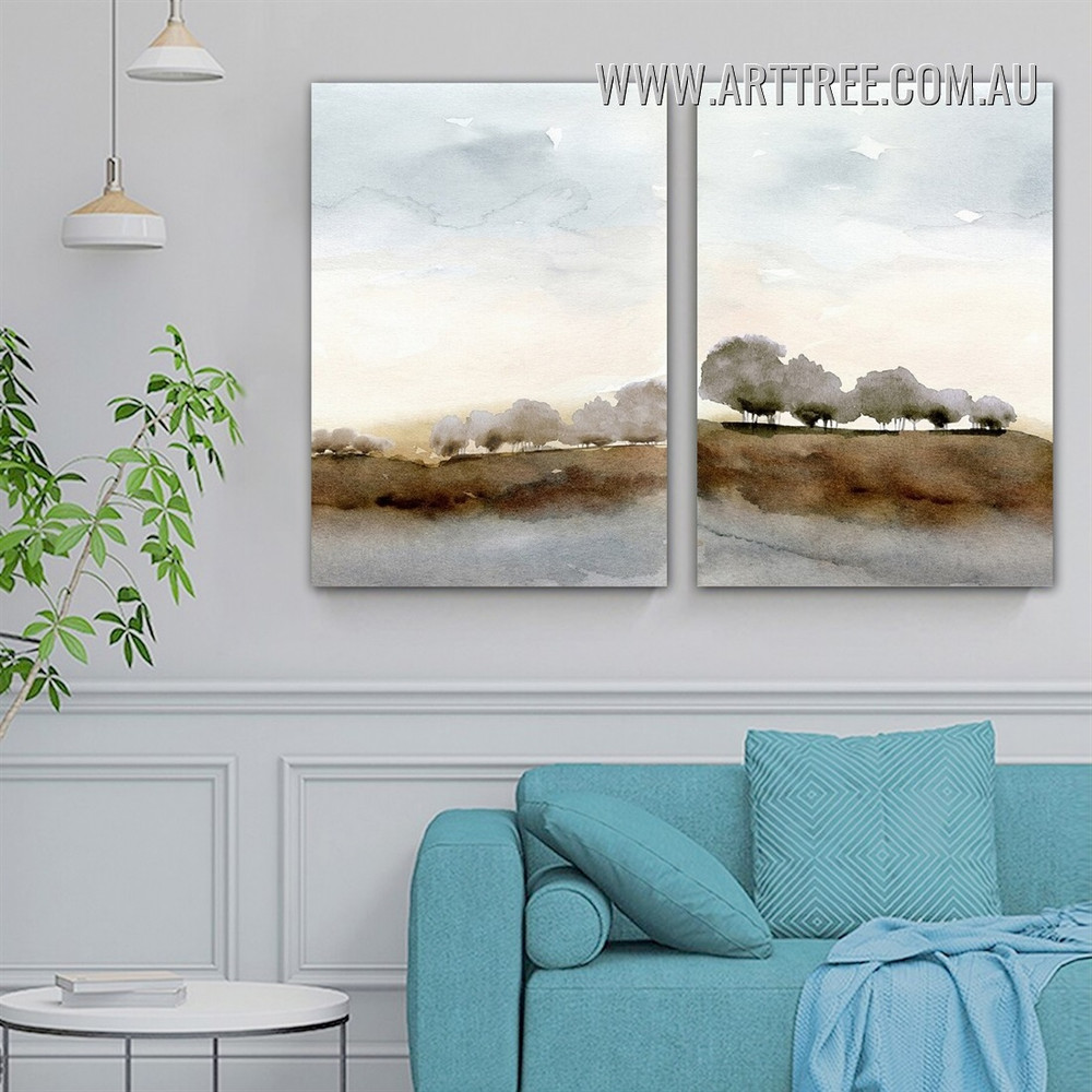 Arbor Mountains Land Trees Abstract Wall Art Photo Watercolor 2 Piece Stretched Landscape Canvas Print for Room Disposition