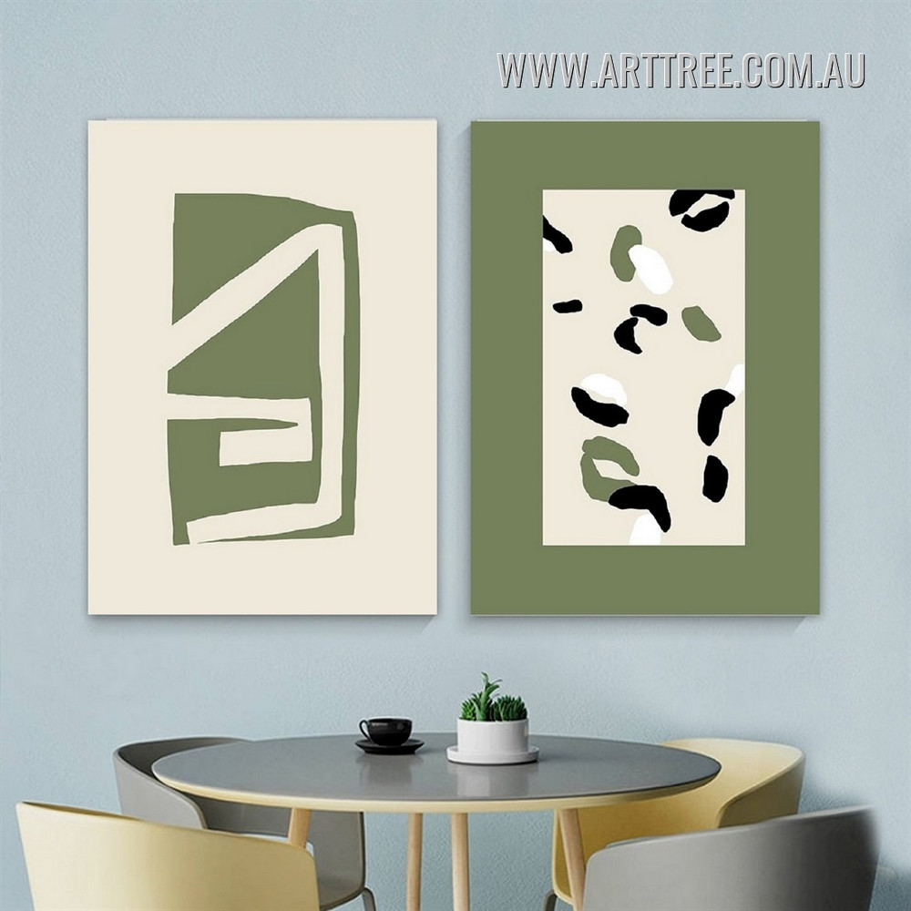 Tarnish Trigon Triangle Geometric Abstract Modern Pic Stretched Artwork 2 Piece Canvas Print For Room Wall Tracery