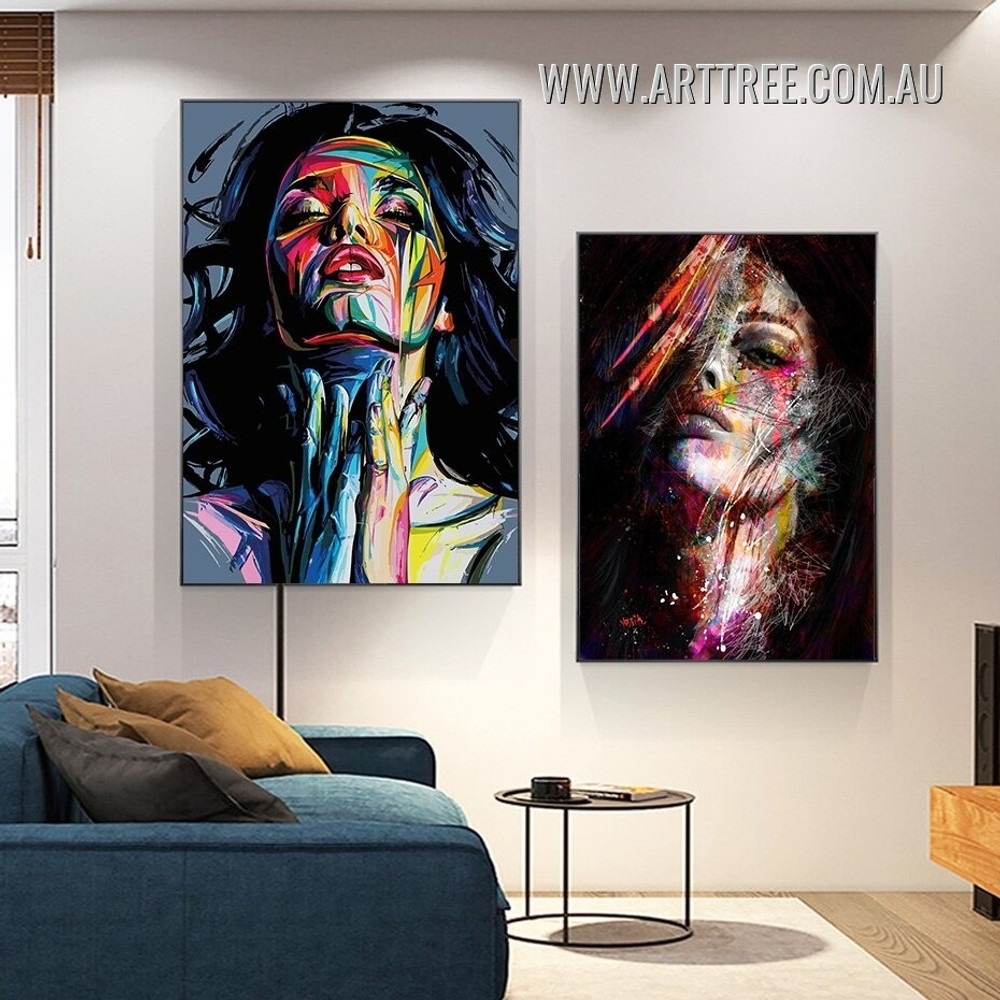Colorific Dona Visage Face Painting Modern Pic Canvas 2 Piece Framed Abstract Figure Art Print for Room Wall Illumination