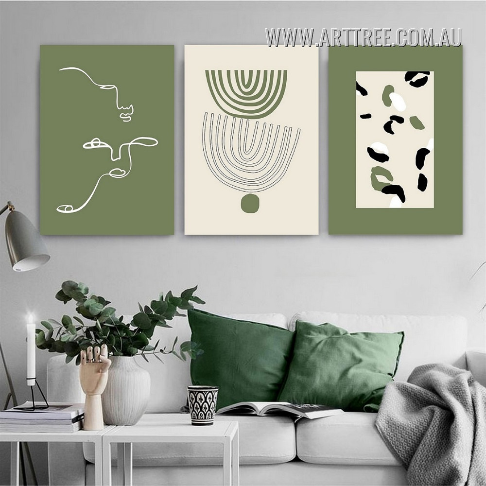 Trajectory Smirch Geometric Abstract Artwork Photo Modern 3 Piece Framed Canvas Print for Room Wall Trimming