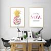 Minimal Mulitcolor Pineapple, Yesterday Now Tomorrow Quote Decor