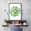 Green Tropical Leaf Art