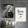 Wild Elephant Animal, Love Home Quote Photo Canvas Prints