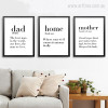 Dad, Home, Mother Definition Quotes Black & White Canvas Prints