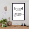 Friend Definition Quote Black and White Art