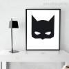 Cartoon Batman Mask Cartoon Black and White Kids Wall Art