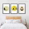 Animated Cute Owl on Branch Cuadros Photo Canvas Prints