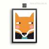 Kawaii Fox Cartoon Animals Boy Girl Bedroom Wall Prints