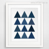 Geometric Blue Triangles Kids Wall Art