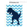 Allosaurus Dinosaur Cartoon Blue Wave Background Nursery Wall Art