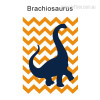 Brachiosaurus Dinosaur Cartoon Yellow Wave Background Nursery Wall Art