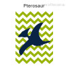 Pterosaur Dinosaur Cartoon Green Background Nursery Wall Art