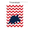 Triceratops Dinosaur Cartoon Red Wave Background Nursery Wall Art