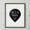 This is My Favorite Spot Black and White Words Canvas Print