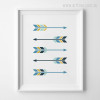 Five Blue Arrows Digital Canvas Print