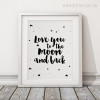 Love You to The Moon and Back Stars Quotes Kids Wall Art