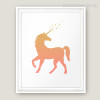 Modern Golden Brown Unicorn Kids Bedroom Ideas Print