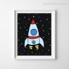 Flying Rocket in Space, Stars Boy Girl Wall Art