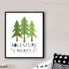Adventure Awaits Quote Spruce Trees Kids Canvas Print