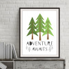 Adventure Awaits Quote Spruce Trees Kids Wall Art