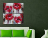 Pink Mallow Flower multi panel oil painting