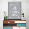 Classic Quote I Love You To The Moon and Back Stars Wall Art