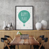 Happy Place Words Green Air Balloon Kids Wall Art