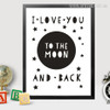 I Love You to the Moon and Back Romantic Words, Stars Wall Decor