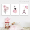 Watercolor Pink Dress Girl Flowers Paris Eiffel Tower Canvas Prints