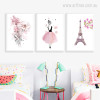Pink Dress Woman, Flowers, Eiffel Tower Art for Girls Bedroom Ideas
