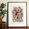 Retro Multicolor Birds Fresco Painting Print