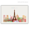 Paris Cityscape Eiffel Tower Watercolor Wall Art