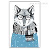 Cute Winter Season Blue Fox Animal Art