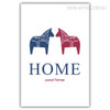 Home Sweet Home Blue Red Horses Wall Hanging Print